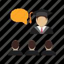 college, education, hall, lecture, teacher, university, workshop icon