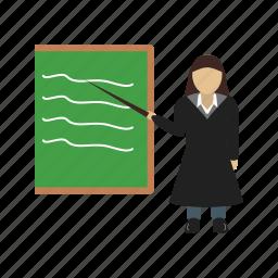 female, presentation, presenter, professor, training, woman icon