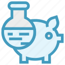 experiment, flask, laboratory, liquid, piggy, piggy lab, science icon