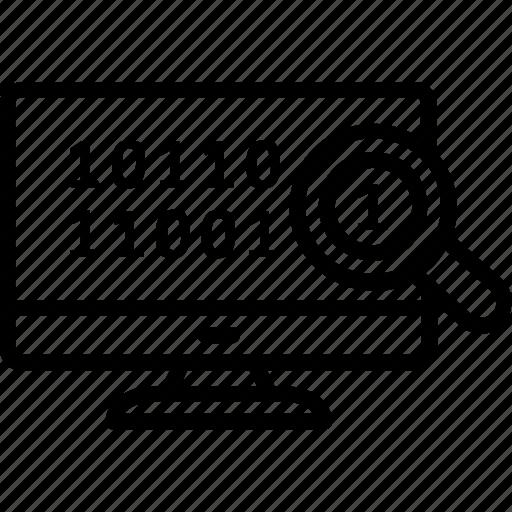 binary, code, information, programming, search icon