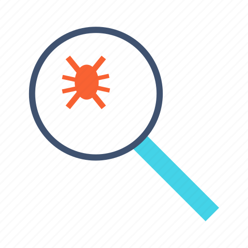 bug, bug finder, find, magnifier, magnifying glass icon