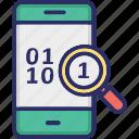 binary, code, mobile, search icon