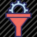 data filter, filter, funnel, gear filter icon