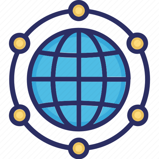 distributed, global village, multidimensional, world icon