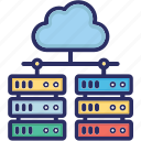 cloud computing, cloud storage, scalability, server icon