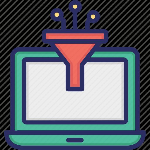 big data, data filter, filter, funnel icon