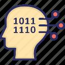 big data, code, head, information icon