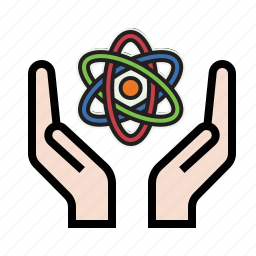 atom, hands, nuclear, science icon