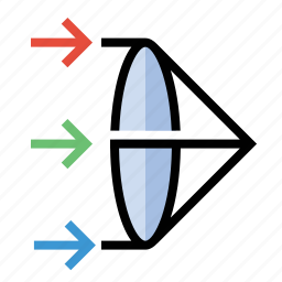 lens, prism, science icon