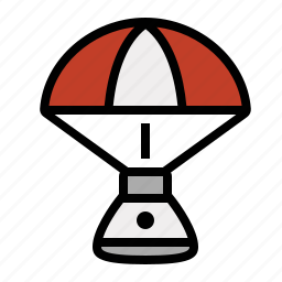 capsule, parachute, rocket, science icon