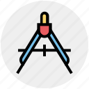 compass, draw, education, geometry, math, school, science icon
