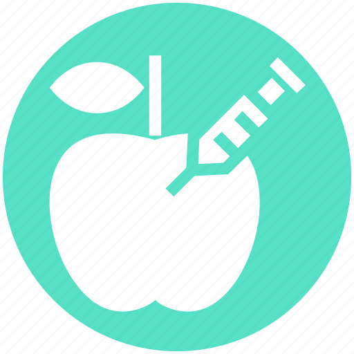 Apple, fruit, genetic, gmo, modification, science, syringe icon - Download on Iconfinder