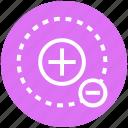 circle, math, minus, molecule, plus, science icon