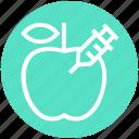 apple, fruit, genetic, gmo, modification, science, syringe icon