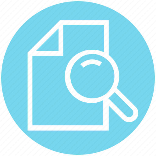 document, file, magnifier, magnifying glass, page, sheet icon