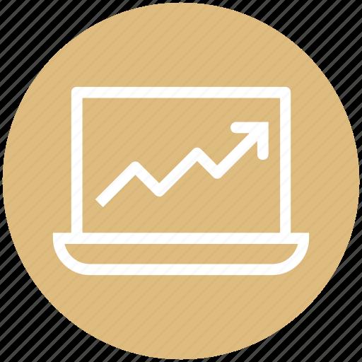 Arrow, device, graph, laptop, macbook, notebook, probook icon - Download on Iconfinder