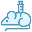 experiment, injection, laboratory, mouse, science, syringe icon
