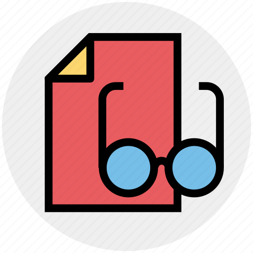 courses, education, glasses, page, paper, reading icon