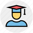 cap, degree, education, graduate, graduation, science, student icon