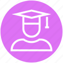 cap, education, graduate, graduation, science, student icon