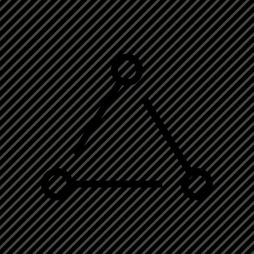nodes, science, triangle icon