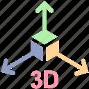 3d, arrows, box, education, formula, math, science icon