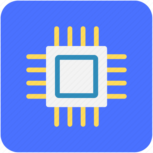 computer chip, integrated circuit, memory chip, microprocessor, processor chip icon
