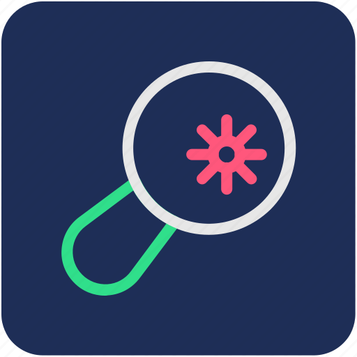germ, magnifier, magnifying glass, search bacteria, searching germs icon