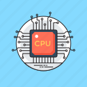 cpu chip, hardware, microprocessor, motherboard, processor chip icon