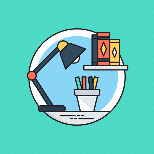 graphic designer workspace, office desk, work studio, workplace, workspace icon
