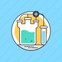 chemical beaker, chemical reaction, chemistry, lab jar, lab testing, sample tube icon