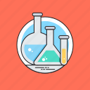 conical flask, lab equipments, lab glassware, sample tube, volumetric flask icon