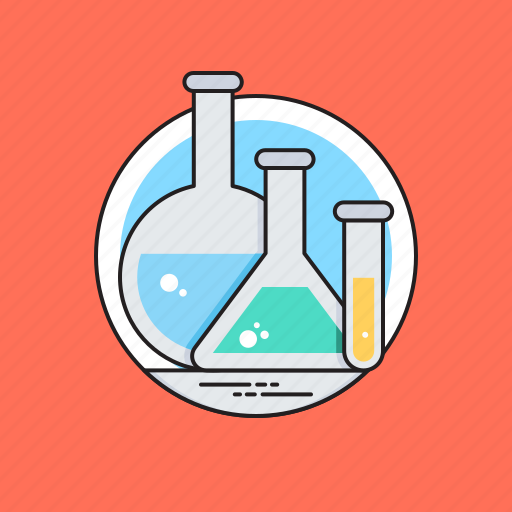 conical flask, lab equipments, lab glassware, sample tube, volumetric flask icon