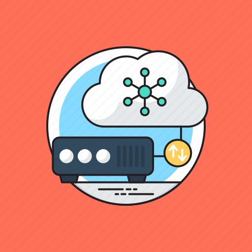 cloud dbms, cloud hosting, cloud server, cloud shared information, cloud storage icon