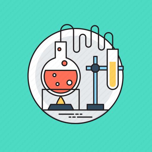 chemistry lab, distillation kit, lab equipments, organic chemistry, scientific research icon