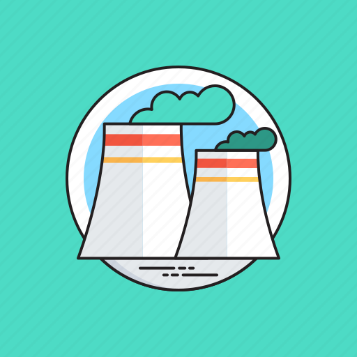 cooling tower, nuclear energy, nuclear plant, power plant, power station icon
