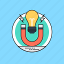 electromagnet, horseshoe magnet, light bulb, magnet and bulb, physics icon