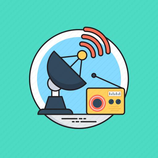 artificial satellite, communication satellite, radio satellite, satellite broadcasting, space antenna icon