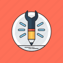 architect instruments, creative writing, creativity, design project, wrench with pencil icon