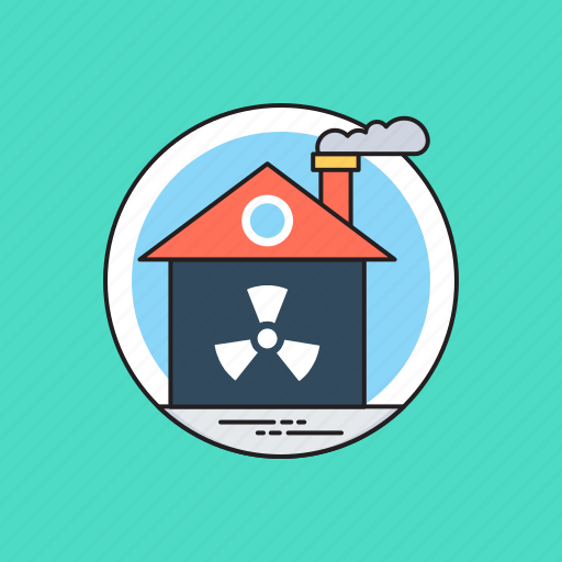 industrial pollution, nuclear industry, nuclear power plant, radioactive factory, radioactivity icon
