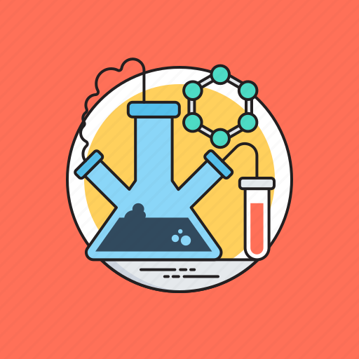 chemical flask, chemistry, lab equipments, lab glassware, three neck flask icon