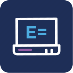 e learning, einstein formula, laptop, online study, science study icon