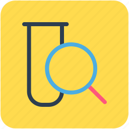 culture tube, lab test, magnifier, sample tube, test tube icon