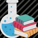 books, chemistry, flask, lab, study icon
