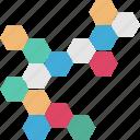 chemistry, cube, hexagons, molecule, science icon