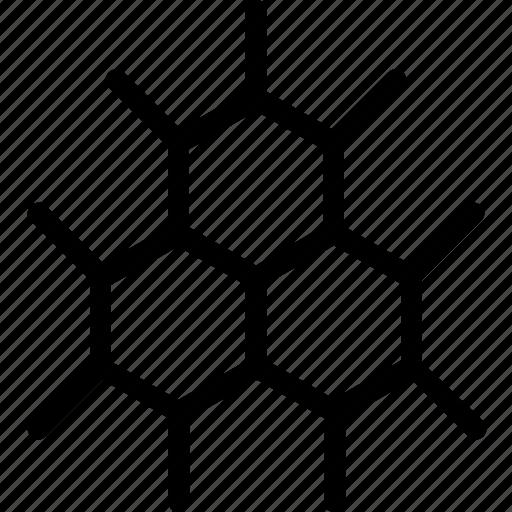 atom, hexagon, molecular bond, molecule, science icon