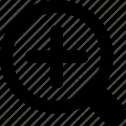 focus, magnifier, plus, view, zoom icon
