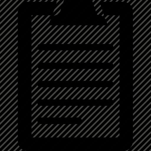 clipboard, notes, records, steno pad, writing pad icon