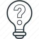 energy, idea, innovation, light bulb, question sign icon