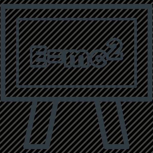 emc2, equivalence, physics, school board, scientific formula icon